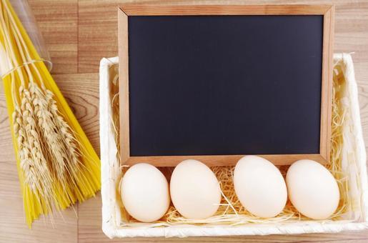 Ingredients and blackboard