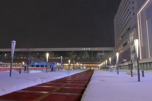 Asahikawa station at night in winter