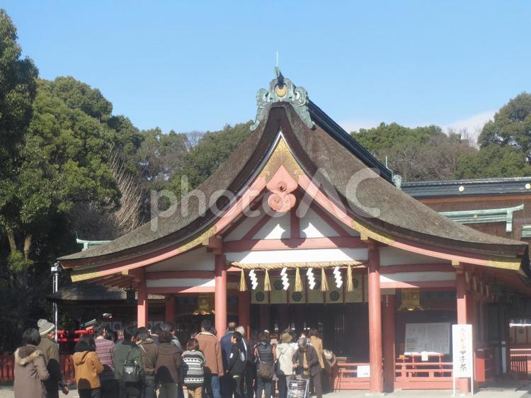 津島神社でお参りの写真