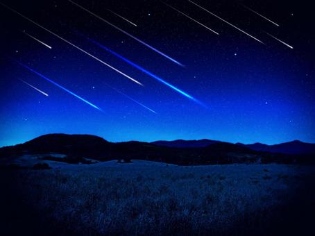 Shooting star and night meadow background material