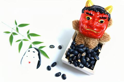 Bean Maki Setsubun Red Demon Soybean Mame Maki Bear Plush Demon Outside