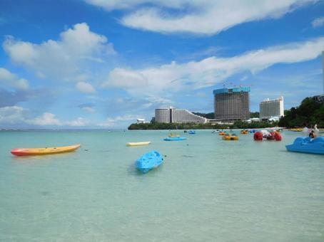 Guam beach and boat