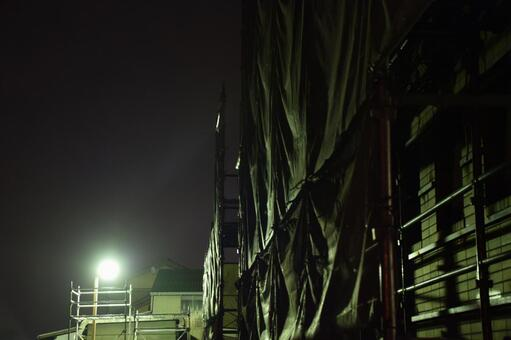 Night construction site