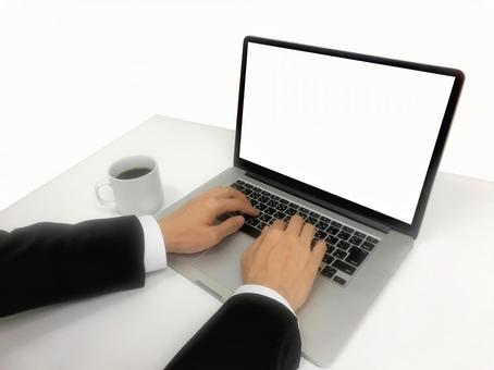 [For synthesis] PC operating hand_white background Cutout with coffee