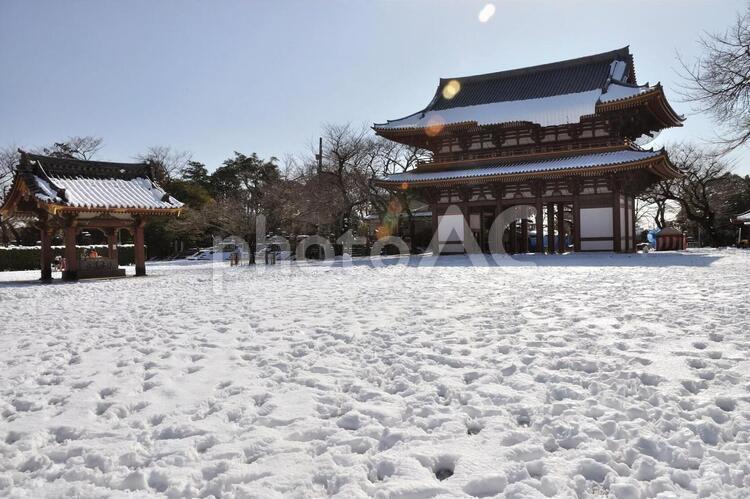 池上Honmonji在一个下雪的天
