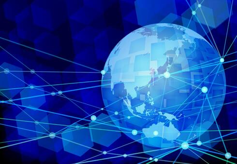 Global network technology blue background material