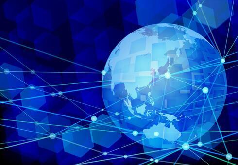 글로벌 네트워크 기술 파란색 배경 소재