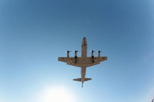Propeller just below the plane