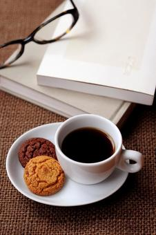 Coffee, books and glasses