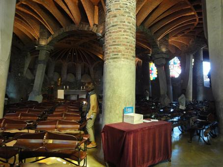 Inside view of Colonia Guell Church