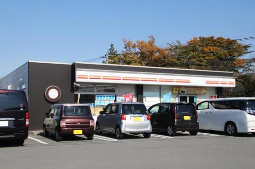 Convenience store and parking lot