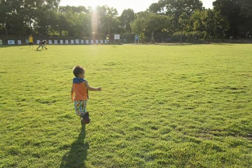 Children and lawn