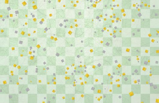 Japanese paper gilt silver foil checkerboard - green