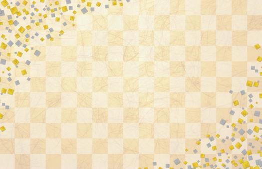 Japanese paper gilt silver foil checkerboard pattern - orange color
