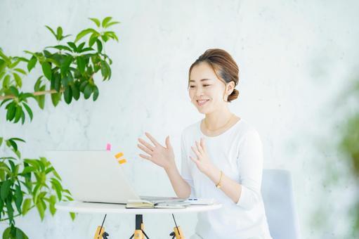 Women communicating online