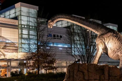 """【후쿠이 현 후쿠이시] JR 후쿠이 역 서쪽 출구 야간 촬영 """"후쿠이 역 및 공룡"""""""