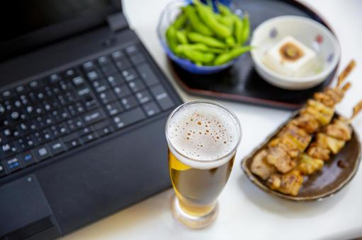 PC, beer and snacks
