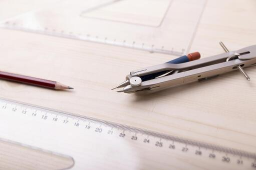 Pencil and triangle ruler and compass 2