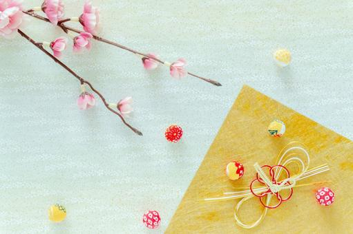 Background of plum and Japanese accessories