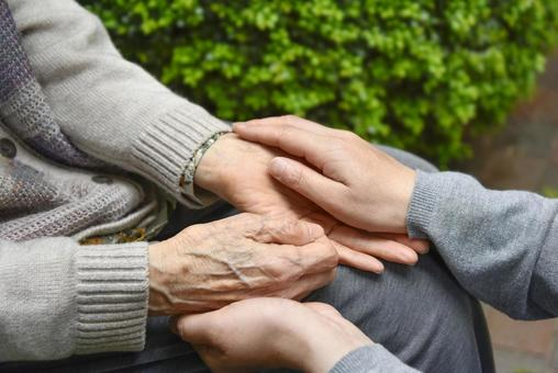 Elderly care / tactile care Soft touch with hands