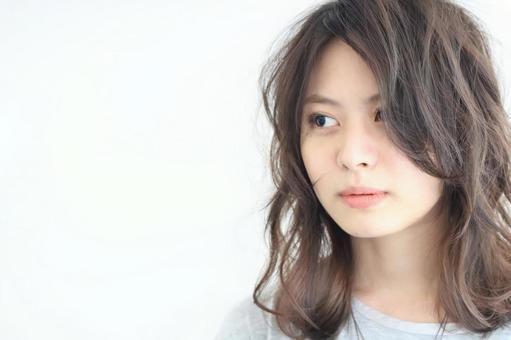 頭髮模型女人日本白色背景