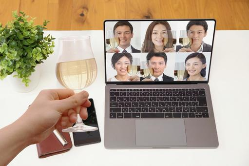 Online drinking party-white table room background