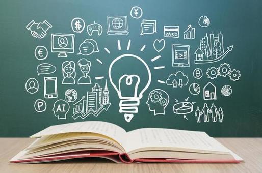 閱讀所學的各種知識·黑板背景智能手機·PC·網絡·經營理念