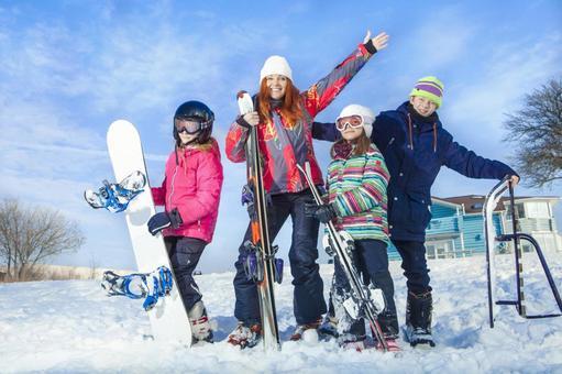 家庭21世纪有一个滑雪和Sunobodo