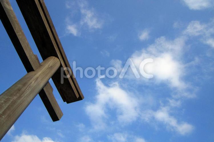 青空と鳥居の写真