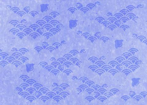 Houndstooth pattern between waves _ Washi _ Blue