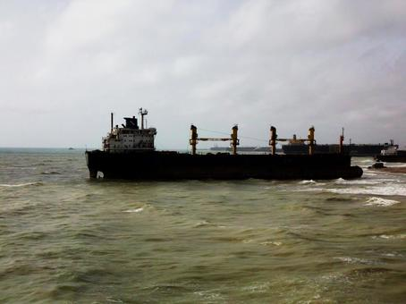 Tanker running in the sea