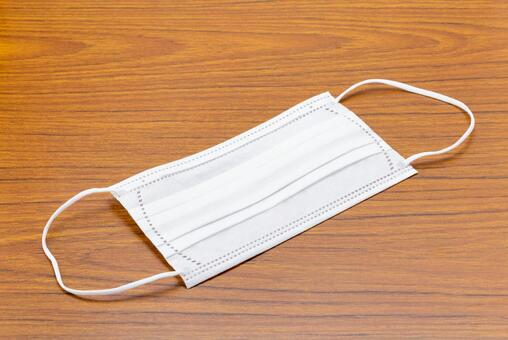 Disposable non-woven mask placed on the desk