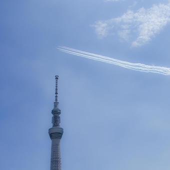Tokyo Sky Tree and Blue Impulse