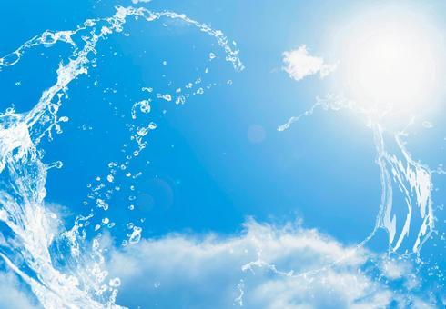 Summer blue sky, sun and splash
