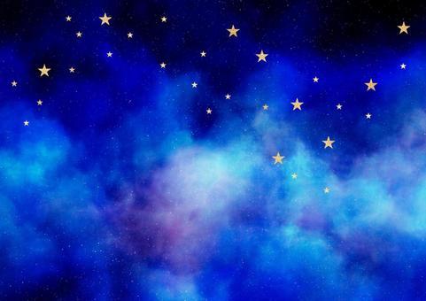 Watercolor style night sky Golden glitter star Background illustration material (blue / purple / light blue)