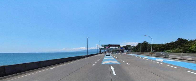 Seisho Bypass Tollhouse in fine weather