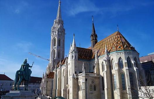 Hungary Budapest Equestrian Statue and Matthias Church