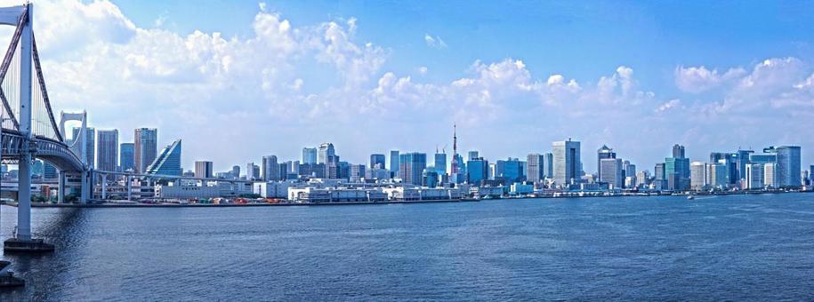 Tokyo cityscape seen from Rainbow Bridge