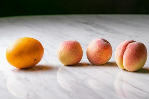 Peach and mango landscape
