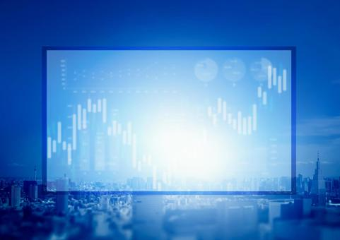 Blue cityscape and business image Stock price graph