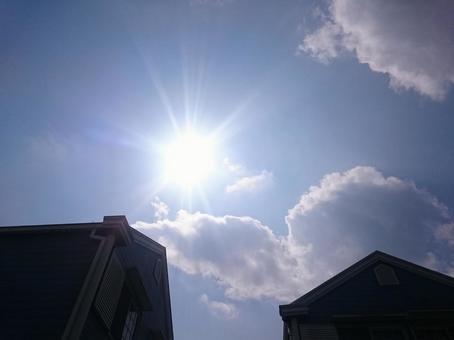 Blue sky sun and triangular roof