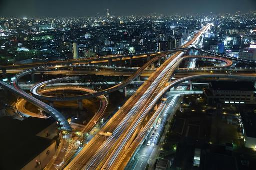 고속도로 분기점 야경
