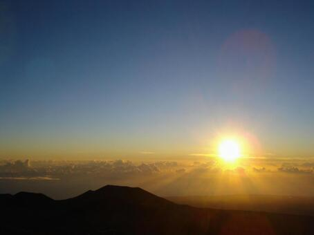 Sunrise, sea of clouds, mountains and sky Copy space available