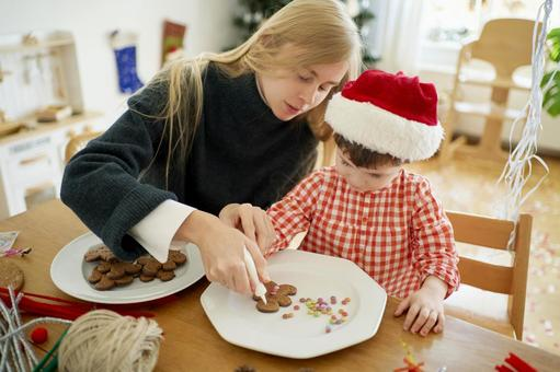 Parents and children preparing for Christmas