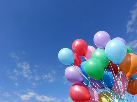 Blue sky and colorful balloons