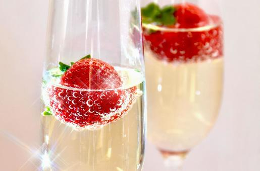 Strawberry champagne cocktail 2 (white background)
