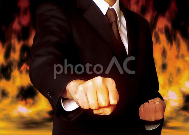 ビジネスマン 炎の写真