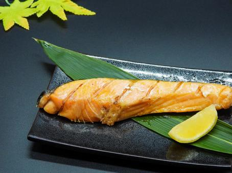 Grilled coho salmon