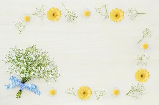 Scallop and yellow flower background