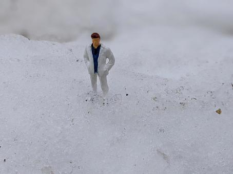Man standing in the snow